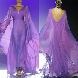 Wholesale Empire Waist Open Dress - Purple Long Evening Dresses Chiffon Illusion Long Sleeve V Neck Pleated 2017 Open Back Vestidos De Fiesta Empire Waist Formal Gowns Evening