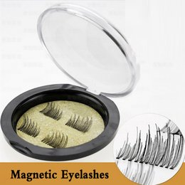 Wholesale Hand Made Hair Accessories - Most Popular 3D Double Magnetic False Fake Eyelashes Eye Makeup Accessories Magnet Eye Lashes Extension Support Drop shipping