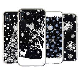 Wholesale Apple Snow - For apple iphoneX iphone X iphone 8 7 plus 6S plus TPU box Christmas gift snow elk All-inclusive anti-drop cell phone cases protector