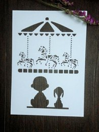 Wholesale Kids Carousel - DIY white stencils children pattern design Masking template For Scrapbooking,cardmaking,painting,DIY cards-The carousel and kids 139