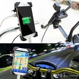 Wholesale Charger For Electric Bicycle - Wholesale- Universal Motorcycle Charger Cell Phone Mount Holder Clamp with USB Charger For Electric Bicycle Scooter ATV GPS Holder