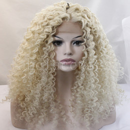 hair african american women Promo Codes - long kinky curly blonde wigs for african american wigs for black women ombre heat resistant synthetic wig long women hair wig