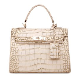 Wholesale Handle Gift Bags - Misslea Women Alligator PU Top Handle Satchel Handbags Crocodile PU Tote Purse shoulder bags for women brithday gift cross-body bags