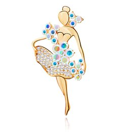 Wholesale Girl Dancer Jewelry - Wholesale- 2017 Fashion Jewelry Accessories Brooch Ballerina Ballet Dancer Girl Full Colourful Crystal Cute Angle Brooches Pins Wholesale