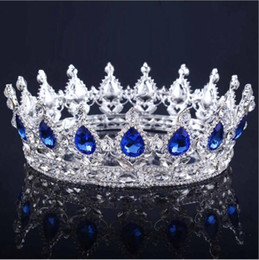 Wholesale tiara silver - Baroque Queen King Tiara Crown Women Headdress Diadem Bridal Wedding Tiaras and Crowns Jewelry Hair Accessories