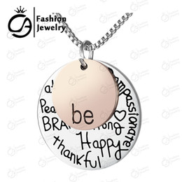 """Wholesale Two Tone Plated Gold Chain - Wholesale Two-Tone """"Be"""" Graffiti Inspirational Charm Necklace Silver Rose Gold Plated Pendant Necklace,20Pcs Lot,#LN908"""