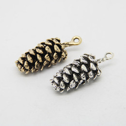 Wholesale Pine Cone Charms - Free Shipping 10pcs Antique Gold Silver Plated Zinc Alloy 39*15mm Pine Cone Charms Pendant For Women Jewelry Accessories DIY Gift