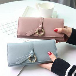 Wholesale Wholesale Purse Decorations - New 2017 Fashion Women Wallets Three Folded Ladies Korean Long Wallet Hit Color Belt Decoration Hardware Women Purses