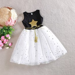 Wholesale Korean Baby Belt - 2017 Korean boutique 1-10Y Baby Girls Sequins Dress Star Printed with Belt Sleeveless Princess Party Kids Dresses pageant gown