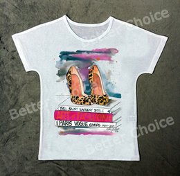 Wholesale High Fashion Magazines - Wholesale-Track Ship+New Vintage Retro T-shirt Top Tee Love My Leisure Fashion Style High Heel Shoe with Reading Magazine 0997