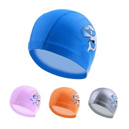 Wholesale Ear Protector Hats - Wholesale- New Cartoon Swimming cap PU Children Waterproof Swimming caps kids swim hats Ear Protector colorful Baby Swimming hat