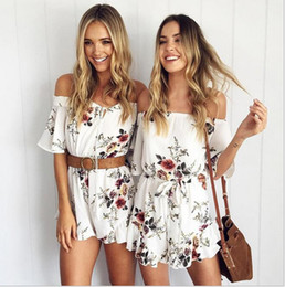 Wholesale Homecoming Peplum Dresses - 2017 Summer Fashion Short Summer Beach Dresses Ladies Casual Prints Chiffon Pants Sexy Off Shoulder Skirts In Stock S10