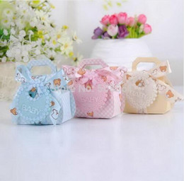 Wholesale Shower Favor Box - Candy Box Bear Shape DIY Gift Christening Baby Shower Party Favor Boxes Paper Candy Box with Bib Tags & Ribbons Gift Wrap 12pcs