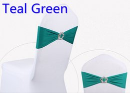 Wholesale Tie Bow Sash Belt - Teal colour Crown buckle lycra sash for wedding chairs decoration spandex band stretch bow tie lycra ribbon belt on sale