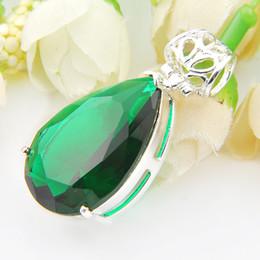 Wholesale Big Stone Necklaces - 3 pcs lot 925 silver green gem fashion big drop stone pendant P01203&P1209