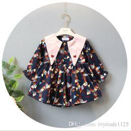 Wholesale Magic Triangles - INS styles new Girl kids spring fall long sleeve Triangle Magic collar dress full geometry print girl charming dress girl's dress