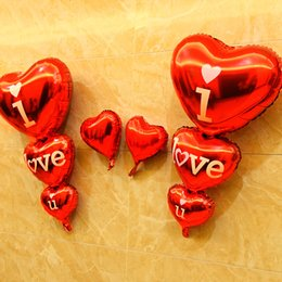 Wholesale i balloons - I love U Alphabet air balloons Party wedding Decoration red 3 conjoined Mylar Foil Balloon large Letter Balloons home DIY Supplies wholesale
