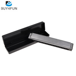 Wholesale Swan Mouth Harmonica - Wholesale-Hot Sale Swan Tremolo Harmonica Mouth Organ 24 Double Holes with 48 Reeds Key of C Free Reed Wind Instrument with Silver Case