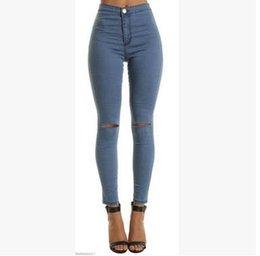 Wholesale High Waist Vintage Jeans Wholesale - Hot Sale Fashion Pencil Jeans Woman Casual Denim Stretch Skinny Jeans Vintage High Waist Jeans
