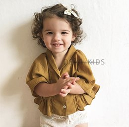 Wholesale Brown Ruffle Blouse - 2017 Infant Baby Girls Cotton Ruffle Shirts Toddler Fashion Batwing Sleeve Blouse Babies Spring tops children's clothing