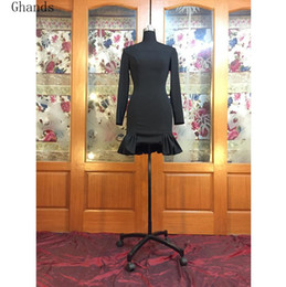 Wholesale Long Jersey Bridesmaid Dresses - 2017 New Ghands Jersey Sheath Column Long Sleeve Black Elegant Short Mini Wedding Guest Formal Gowns Plus Bridesmaid Dress Custom Size Color
