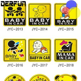 Wholesale baby board sticker car - Car-Styling Cartoon Car Stickers Vinyl Decal Baby on Board Baby in Car Mom in Car yellow Funny Sticker