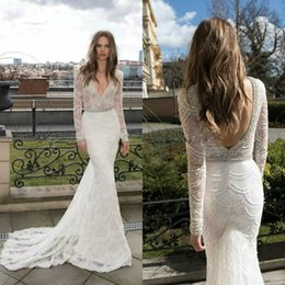 Wholesale sexy beaded beach wedding dresses - Long Sleeve Mermaid Wedding Dresses 2017 Berta Sweep Train Beach Wedding Dress Rhinestone Beaded Deep V Neck Bridal Gowns