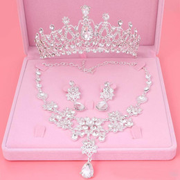 Wholesale Earrings Drop Gold Rhinestone Crystal - 2018 Bling Bling Set Crowns Necklace Earrings Alloy Crystal Sequined Bridal Jewelry Accessories 2017 Wedding Tiaras Headpieces Hair