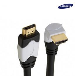 Argentina Cable macho HDMI a macho Adaptador de video dorado Conector de 90 grados 1M 3M para Xbox 3D LCD HDTV con paquete cheap hdmi gold package Suministro
