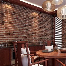 Wholesale Brick Wallpaper Sticker - Wholesale- Red Grey Coffee 1 Pc PVC Realistic Real Look Bricks Rock Wall Paper Prepasted Adhesived Wallpaper Wall Stickers Home Decor New