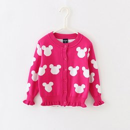 Wholesale Cardigan Sweaters For Children - Baby Kids Clothing girls Sweaters Cardigan 2017 Spring Autumn Lolita style minnie pattern Cotton long sleeve Knitwear Knitting for children