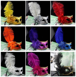 Wholesale carnival costumes for women - Party Mask Gold Glitter Masks Venetian Unisex Sparkle Masquerade Mask Mardi Gras Sexy Carnival Costume wedding gift with flower feather