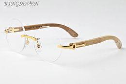 Wholesale circle shades men - Fashion Round Sunglasses 2017 Men Women Luxury Brand Designer Vintage Rimless circle sunglasses Female Rivet Shades Big Wood Style