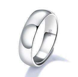 Anéis de noivado lisos on-line-925 Sterling Silver Criativo Suave Anel Aberto Eternity Banda Anel de Noivado Wedding Band