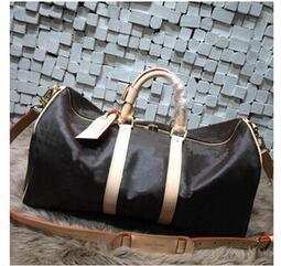 Wholesale Large Weekender Travel Bag - 55CM Keepall Weekender Keepall bag PU Leather large capacity women travel bags Holdall duffel bag famous designer men