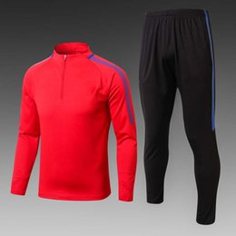 Wholesale Mens Sweaters Clothing - Perfect 17 18 barce away red tracksuit top AAA long sleeve suit pants Training suit football training clothes sports wear mens Sweater