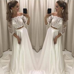 Wholesale Two Piece Bridal Wear - Modern 2018 New Designed Two Pieces A Line Wedding Dresses Lace Top Satin Skirt Long Wedding Reception Party Wear Gowns Bridal Dress