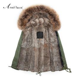 Wholesale Parka Men Big Fur - Wholesale- real rabbit fur mens fur parka with big genuine raccoon collar,High quality 2015 New fashion Mens winter outwear jacket
