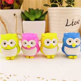 Wholesale Cute Gifts For Students - Wholesale- Free ship!1lot=32pc!Creative cartoon cute Owl animal rubber eraser  stationery for children students gift eraser