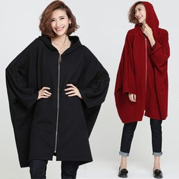 Wholesale Ladies Batwing Sleeve - Wholesale- Plus Size 5XL 6XL 2016 Fall Winter Women Fashion Long Batwing Outwear Tops Female Lady Big Loose Stripe Print Cotton Jacket Coat
