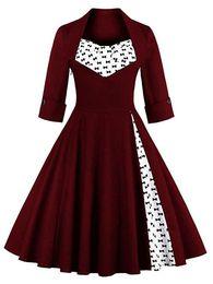 Wholesale Pinup Plus - Women's Retro Elegant Dress 1 2 Sleeve Contrast Straight Skirt Swing 1950s Vintage Pinup Formal Tea Dress A-Line Cocktail Gowns