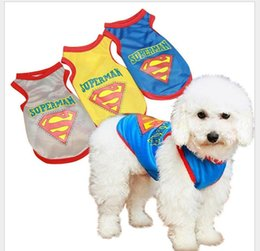 Wholesale Dog Apparel Mesh Shirts - Casual New 2017 Cute Pet Dog Cat Puppy Clothes Costume Superman Mesh Vest Apparel Dogs Shirt Coat Breathable Sports Wear Black Yellow Gray