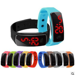 Wholesale Touch Wristwatches - 2016 Fashion Sport LED Touch Screen Bracelet Watch Candy Jelly Silicone Rubber Digital Watches Men Women Unisex Sports Wristwatch DHL