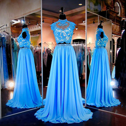 Wholesale Sexy Original Dress - Light Blue 2 Piece Prom Dresses 2017 Lace Beading Chiffon Original Pictures High Neck Floor Length Real Special Occasion for Girls