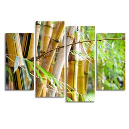 Современная живопись бамбука онлайн-Бамбук фото лесное хозяйство холст картины современные HD фотографии печать на холсте 4-х частей природы пейзаж жикле печати (30x60cmx2 30x80cmx2)