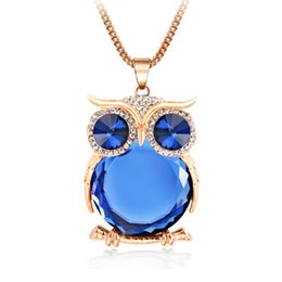 Wholesale Owl Chain Earrings - 8 Colors Trendy Owl Necklace Fashion Rhinestone Crystal Jewelry Statement Women Necklace Silver Chain Long Necklaces & Pendants