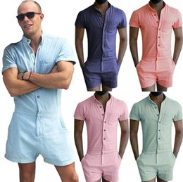 Wholesale Casual Summer Rompers - 2017 Fashion Men's Stretch Jumpsuit Male Short Sleeve Rompers Short Cargo Pants Summer Single Breasted Tops Zipper Trousers Plus Size XXL