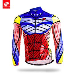 Wholesale Uv Sleeves Designs - Nuckily Anti UV cycle spider net cycling long jersey Crazy design long sleeve jersey for men MC002
