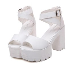 Wholesale Thick Sole Platform Sandals - 2017 Fashion white black soft PU leather cross strap tooth serrated sole platform thick high heels sandals size 34 to 39
