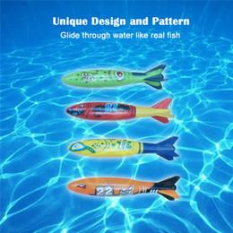 Wholesale Dive Toys - New hot sale 4pcs set Multicolor Toypedo Bandits Underwater Dive Rocket Swimming Pool Toys Swimming Pool Toys